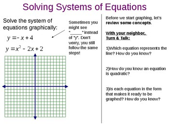 Solving Quadratic-Linear Systems Graphically