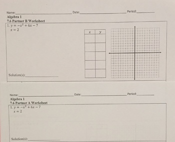 Solving Quadratic and Linear Systems Partner Worksheet