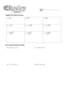 Solving Quadratics (Best Method) Worksheets