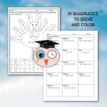 Solving Quadratics - Thanksgiving Turkey