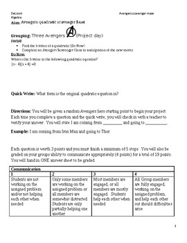Solving Quadratics Avengers Scavenger Hunt / Maze