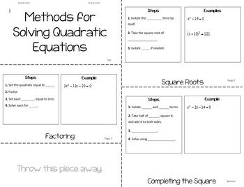 Solving Quadratics Booklet Foldable Graphic Organizer