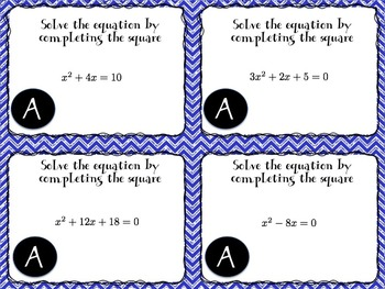Solving Quadratics By Completing the Square (a=1,a>1) Task Cards