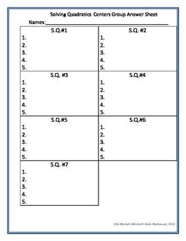 Solving Quadratics Centers