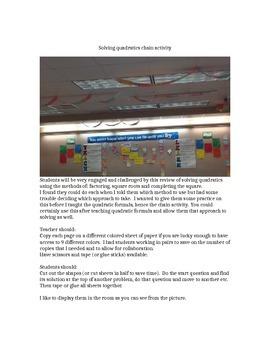 Solving Quadratics Chain Activity