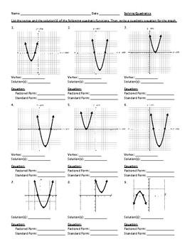 Solving Quadratics Equations/Functions Worksheet: Graphing, Factoring, Standard
