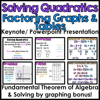Solving Quadratics: Factoring, Graphs & Tables Presentation