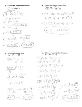 Solving Quadratics Fake Test