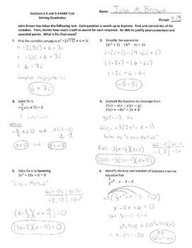 Solving Quadratics Fake Test