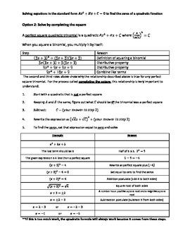 Solving Quadratics Flowchart