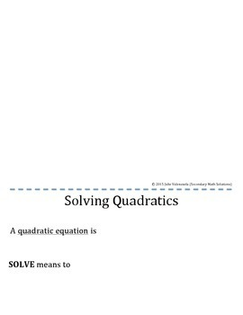 Solving Quadratics Foldable (3 Methods)