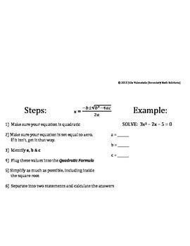 Solving Quadratics Foldable (3 Methods)