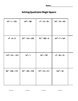 Solving Quadratics Magic Square