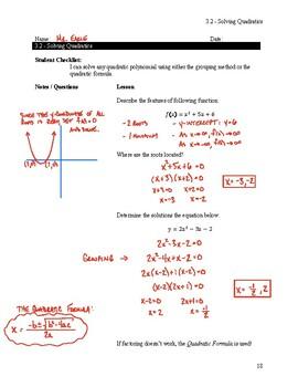 Solving Quadratics Notes Key