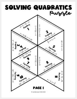 Solving Quadratics (PUZZLE)