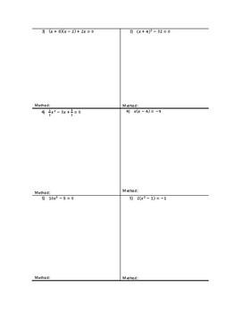 Solving Quadratics Partner Activity