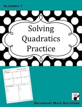 Solving Quadratics Practice
