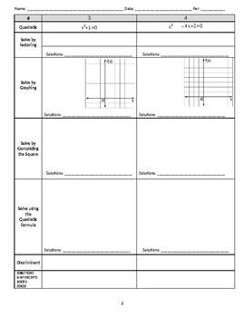 Solving Quadratics Review: Use All 4 Methods