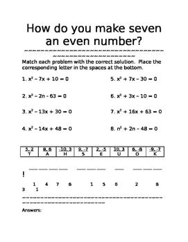 Factoring AND Solving Quadratics Riddle