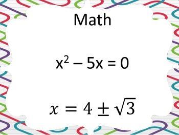 Solving Quadratics Scavenger Hunt