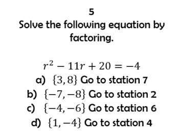 Solving Quadratics Scavenger Review