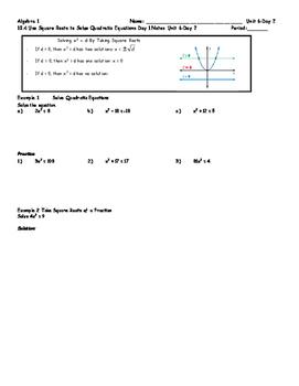 Solving Quadratics Unit