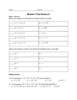 Solving Quadratics Unit Test or Test Review Version 1