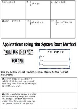Solving Quadratics Using Square Roots Notes, Puzzle Assignment, Warmup, Video