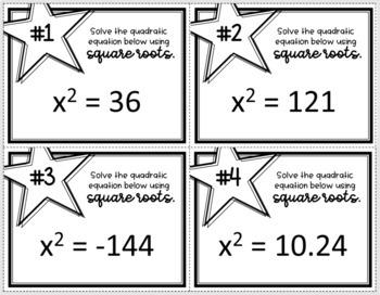 Solving Quadratics Using Square Roots (Task Cards)