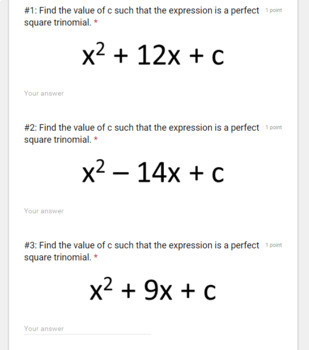Completing the Square- Digital Assignment for use with Google Forms