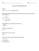 Solving Quadratics by Completing the Square Scaffolded Worksheet