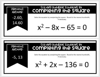 Solving Quadratics by Completing the Square (Scavenger Hunt)