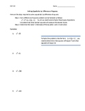 Solving Quadratics by Difference of Squares - Simple