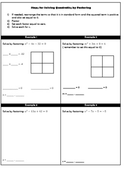 Solving Quadratics by Factoring Guided Notes
