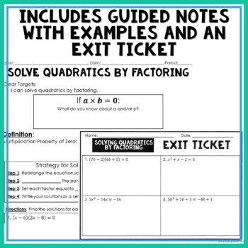 Solving Quadratics by Factoring Notes