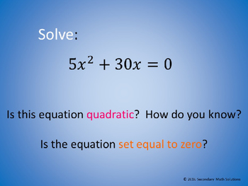 Solving Quadratics by Factoring PowerPoint