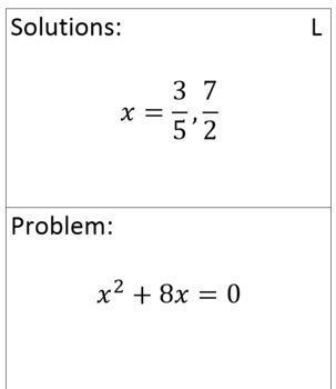 Solving Quadratics by Factoring Scavenger Hunt