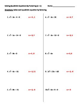 Solving Quadratics By Factoring Worksheet By Mitchell S Math Madhouse