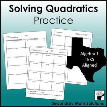 Solving Quadratics Practice (A8A)