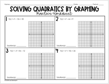 Solve Quadratics By Graphing Worksheets & Teaching Resources ...