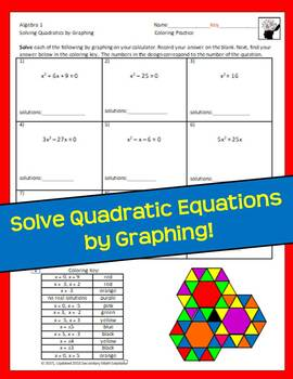 Solving Quadratic Equations by Graphing Coloring Activity ...