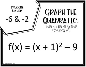 Solving Quadratics by Graphing (Scavenger Hunt)