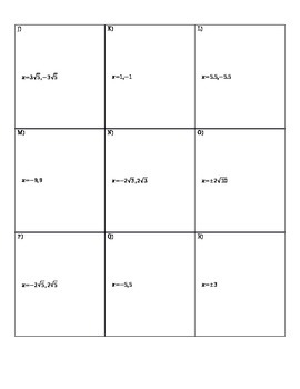 Solving Quadratics by Square Roots Matching Activity