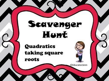 Solving Quadratics by Square Roots Scavenger Hunt