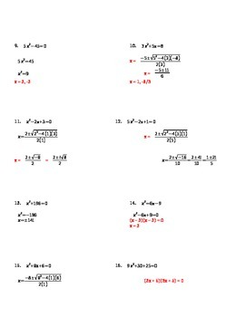 Solving Quadratics by any Method