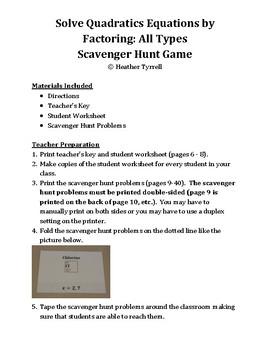 Solving Quadratics using Factoring Scavenger Hunt Game