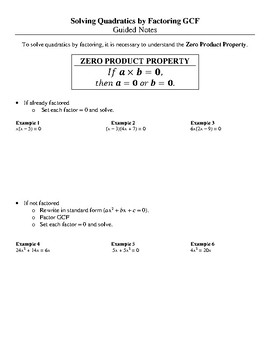 Solving Quadratics using GCF and Zero Product Property by Venisha's ...