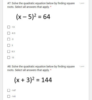 Solving Quadratics using Square Roots- Digital Assignment for use with Google