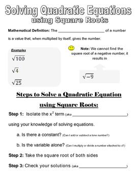 Solving Quadratics using Square Roots Graphic Organizer