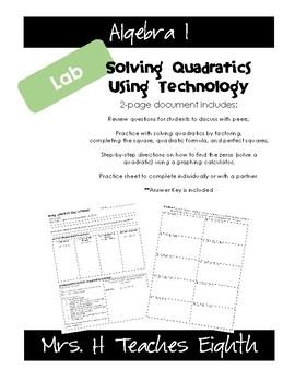 Solving Quadratics using Technology